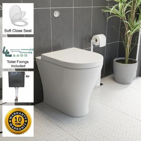 Back To Wall BTW Toilet WC Pan Soft Close Seat Concealed Cistern Flush Button