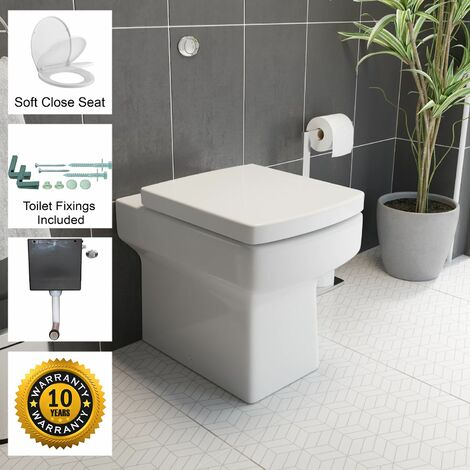 Back To Wall BTW Toilet WC Pan Square Soft Close Seat Cistern Dual Flush Button
