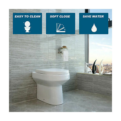 Back To Wall Toilet Ceramic Pan Cloakroom Soft Close Seat Bathroom WC Modern BTW