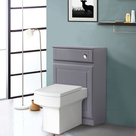 Back To Wall Toilet Cistern Unit Bathroom Furniture Gloss Grey 502mm