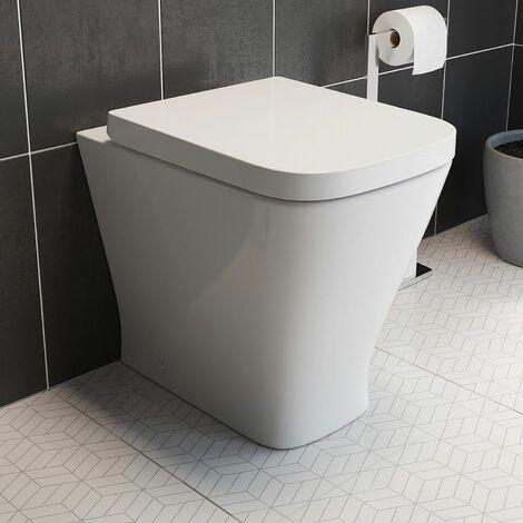 Back to Wall Toilet Pan Soft Close Toilet Seat White Ceramic Modern Space Saving