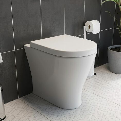 """main image of """"Back To Wall Toilet Pan with Soft Close Seat Space Saving Modern White Ceramic"""""""