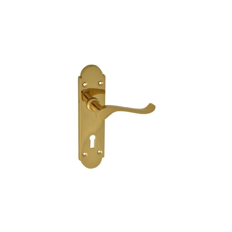 Image of Backplate Handle Lock - Gable Brass Finish - Forge