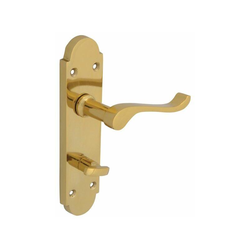 Image of Backplate Handle Bathroom - Gable Brass Finish (FGEHBATGABBR)