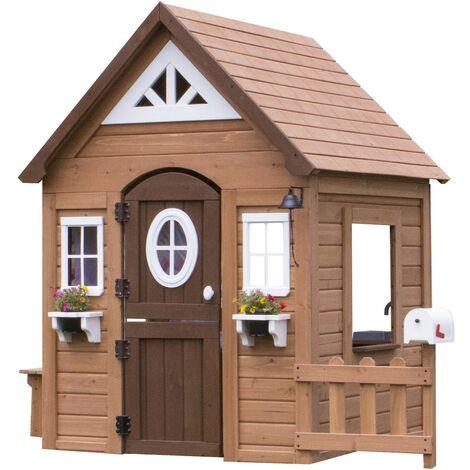 Backyard Discovery Aspen Maison Enfant en Bois   Maison de Jeux pour l'extérieur / Jardin   Maisonnette / Cabane de Jeu avec Cuisine et Accessoires
