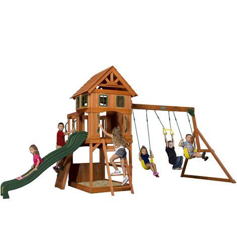 Backyard Discovery Atlantic aire de jeux en bois | Avec balançoire / toboggan / bac de sable / mur d'escalade | Maison enfant exterieur