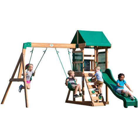 Backyard Discovery Buckley Hill aire de jeux en bois | Avec balançoire / toboggan / bac de sable / échelle | Maison enfant exterieur