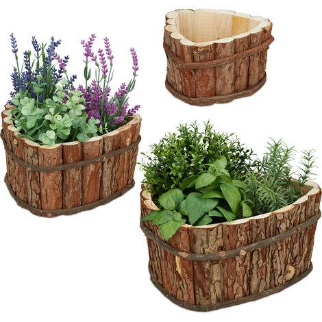 Bacs à fleurs en bois jeu de 3, pour jardin, pour plantes, sur le balcon et à la fenêtre, 3 tailles, nature