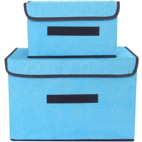 Bacs De Rangement Pliables Non Tisses, Avec Couvercles Et Poignees, Paquet De 2