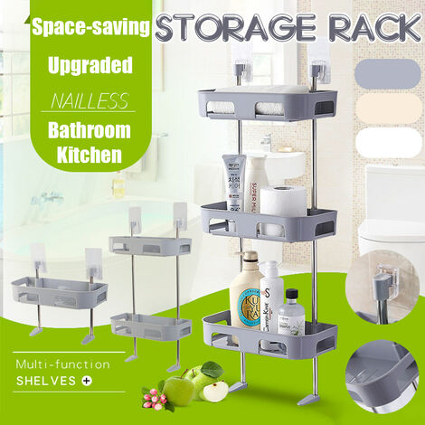 Bad Küche Wandregal ohne Punsch WC Waschbecken Lagerregal beige drei Schichten beige