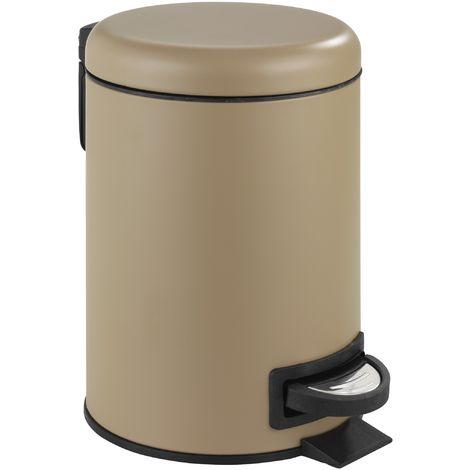 Bad-Mülleimer 3 Liter in Sand/Braun matt - Kosmetikeimer inkl. Einsatz - Für Badezimmer & WC - Abfalleimer klein mini