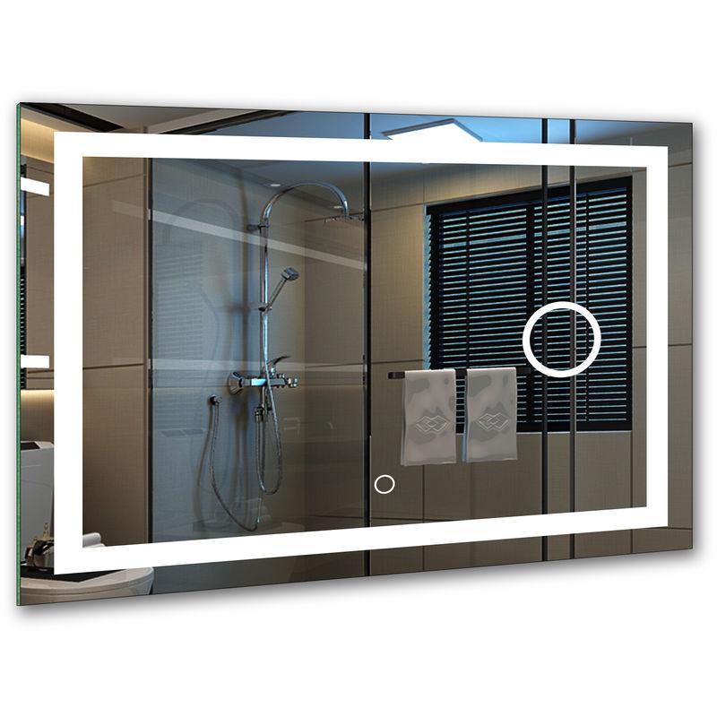 Bad Spiegel Mit Led Beleuchtung Badspiegel Badezimmerspiegel 80x60cm 6000k Auch Als Schminkspiegel Geeignet Energieklasse A