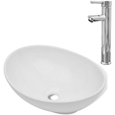 Bad-Waschbecken mit Mischbatterie Keramik Oval Weiß -