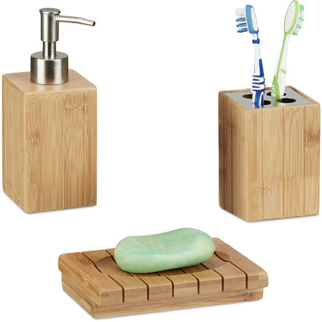 Badaccessoires Bambus, 3-teiliges Badezimmer Set aus Seifenspender,  Seifenschale u. Zahnbürstenhalter, natur