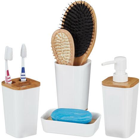 Badaccessoires Set, 4 teilig, modern, Zahnputzbecher, Seifenschale & Seifenspender, Kunststoff & Bambus, weiß