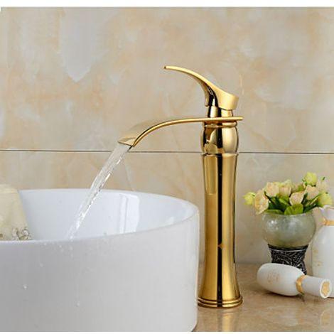 Badarmatur Farbe Gold, mit gebogenem Auslauf, Messing-Ausführung, modernes Design