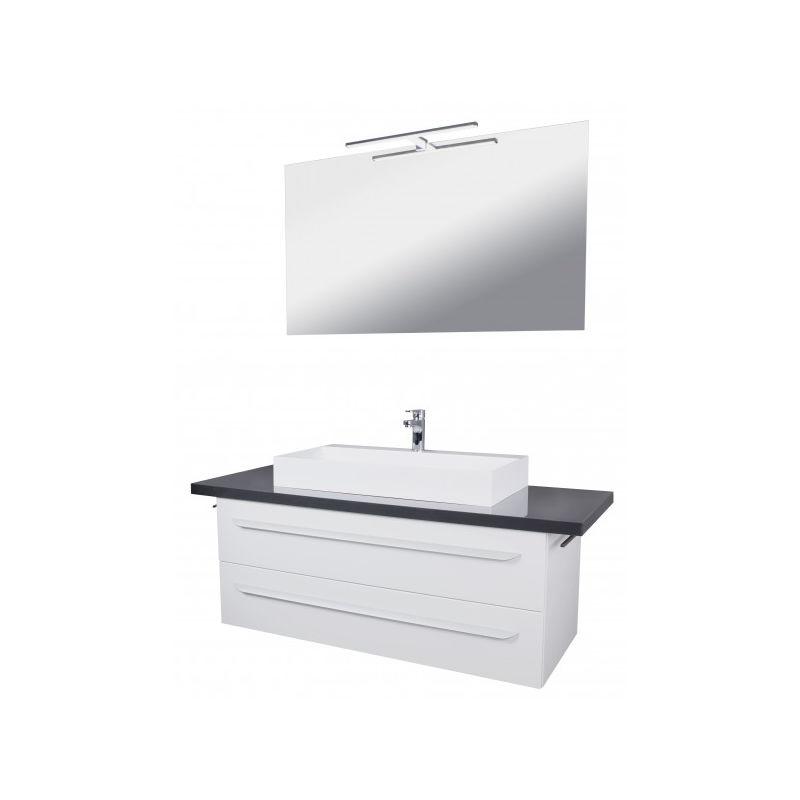 AMORE Badmöbel Set 5-tlg, 140 cm breit, Weiß, Gussmarmor-'06277' - Badedu