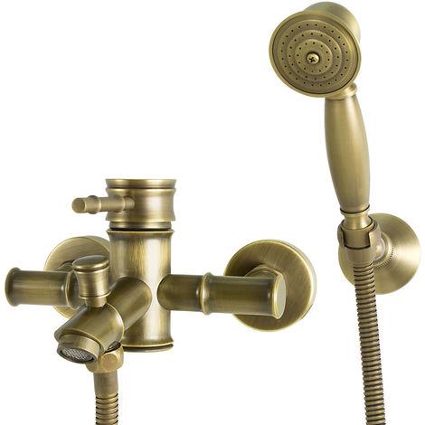Badewanne Armatur Nostalgie Retro Einhebel Antik Messing Design Sanlingo Iris