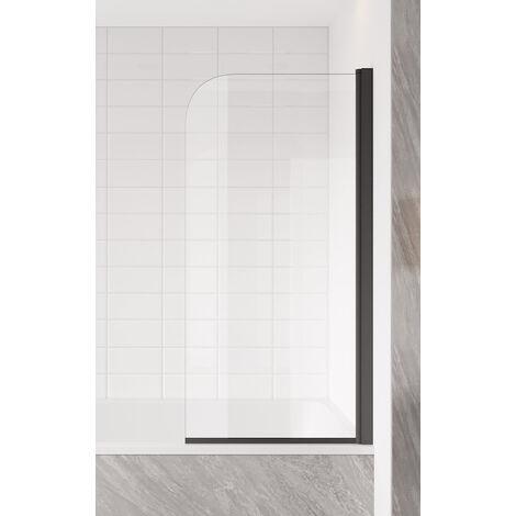 Badewanne Torino 5mm mit Nanobeschichtung - schwarz - 60 x 140cm Duschwand Duschabtrennung Badewannenaufsatz