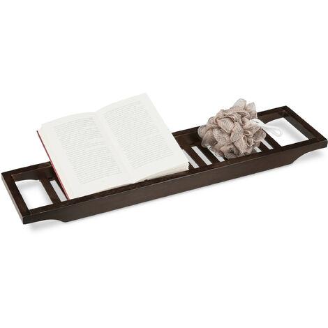 Badewannenablage aus Bambus, Badewannenbrett, Tablett für Badewanne, HxBxT: 4 x 65 x 15 cm, braun lackiert