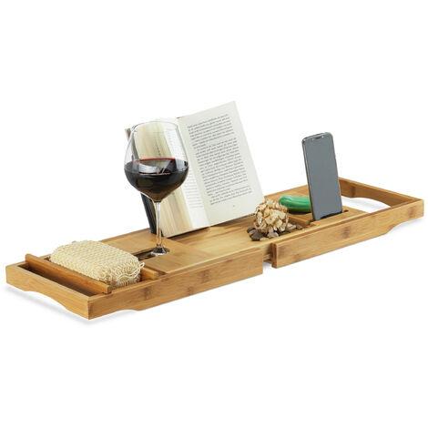Badewannenablage Bambus, ausziehbares Badewannenbrett mit Buchstütze und Glashalter, HBT: 19x107,5x23cm, natur