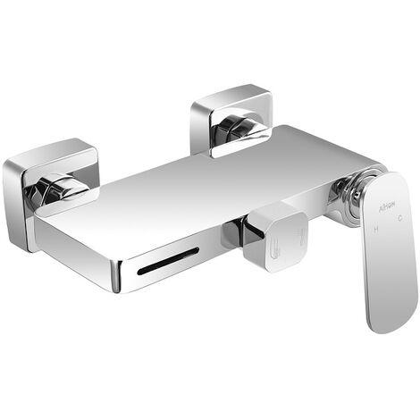 Badewannenarmatur Mischbatterie mit Wasserfall-Auslauf, Duscharmatur für Dusche und Badewanne Wasser Mischbatterie Wandhalterung Messing Chrom