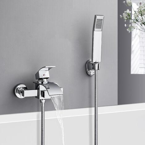 Badewannenarmatur mit Handbrause Duschsysteme Duscharmatur mit Wasserfall Auslauf Wannenarmatur Badarmatur inkl. Wandhalterung Einhandmischer Wasserhahn für Bad Dusche, Chrom