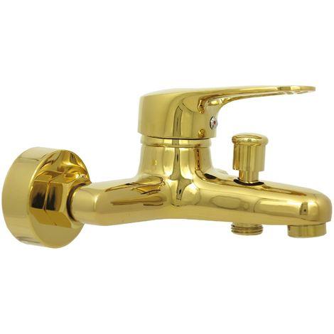 Badewannenarmatur Retro Gold Aufputz Mischbatterie Badewanne