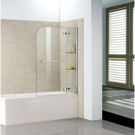 Badewannenaufsätze 2-tlg 140cm Faltwand Duschwand Duschabtrennung