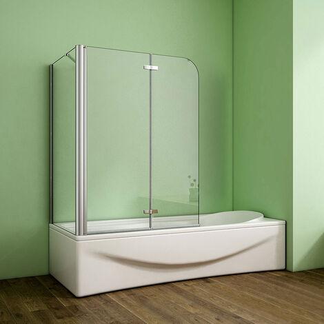 Badewannenaufsatz 2-tlg. Faltwand Nano-Glas Duschabtrennung Seitewand