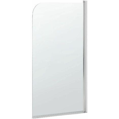 Badewannenaufsatz aus Temperglas transparent mit verchromten Aluminiumprofilen 140 x 70 cm verstellbar Minimalistisch Modern