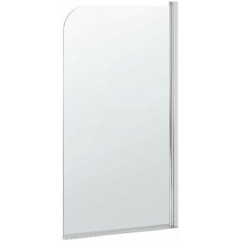 Badewannenaufsatz aus Temperglas transparent mit verchromten Aluminiumprofilen 140 x 80 cm verstellbar Minimalistisch Modern