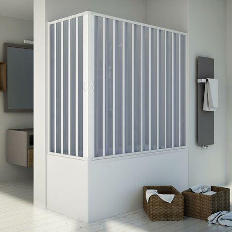 Badewannenaufsatz Duschkabine in PVC mod. Santorini mit zentraler Öffnung