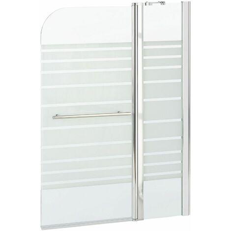 Badewannenaufsatz mit Türen aus Temperglas mit Aluminiumprofilen und Edelstahl Querstreifen 140 x 100 cm verstellbar Minimalistisch Modern