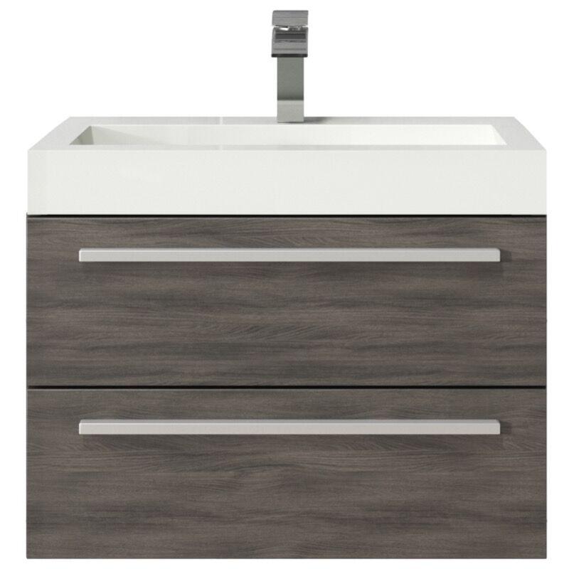 Badezimmer Badmöbel Set Marseille 60cm eiche dunkel - Unterschrank Schrank Waschbecken Waschtisch - BADPLAATS