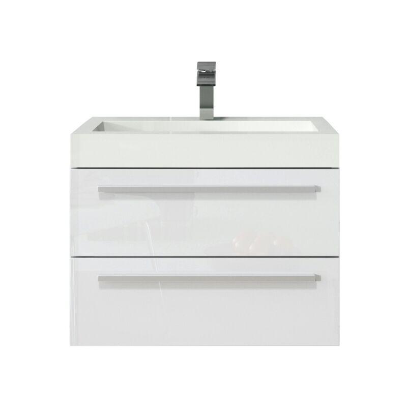 Badezimmer Badmöbel Set Marseille 60cm Hochglanz weiß - Unterschrank Schrank Waschbecken Waschtisch - BADPLAATS