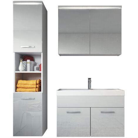 Badezimmer Badmöbel Paso LED 80 cm Waschbecken Hochglanz Weiß Fronten - Unterschrank Hochschrank Waschbecken Spiegelschrank