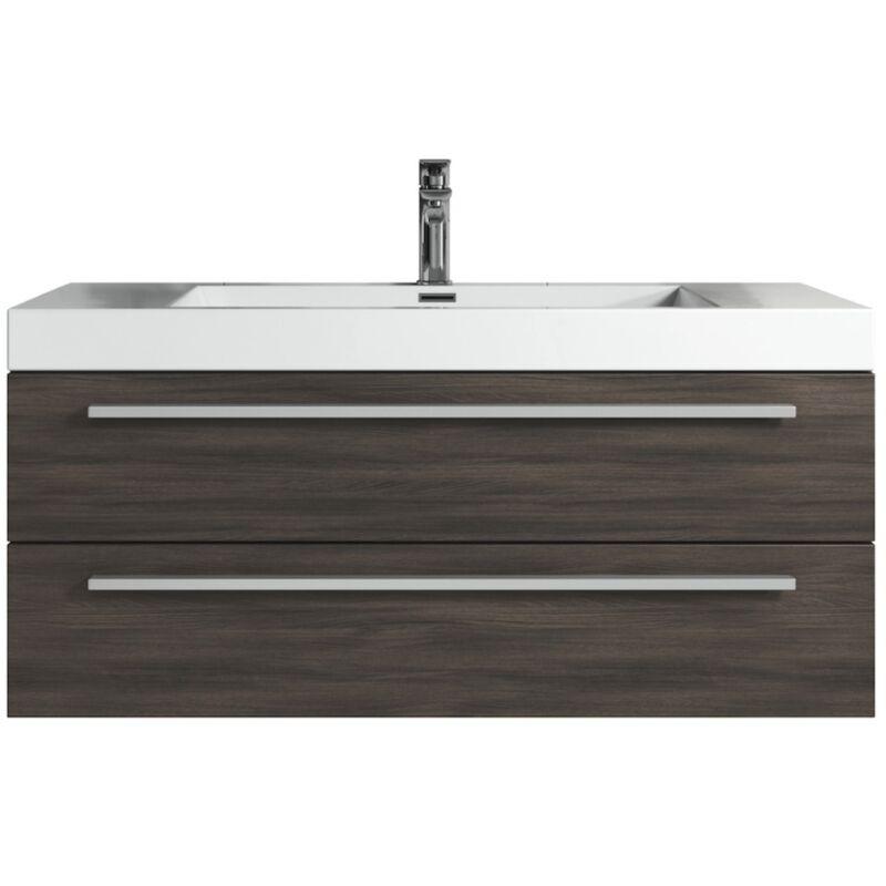 Badezimmer Badmöbel Set Rome 100cm eiche dunkel - Unterschrank Schrank Waschbecken Waschtisch - BADPLAATS