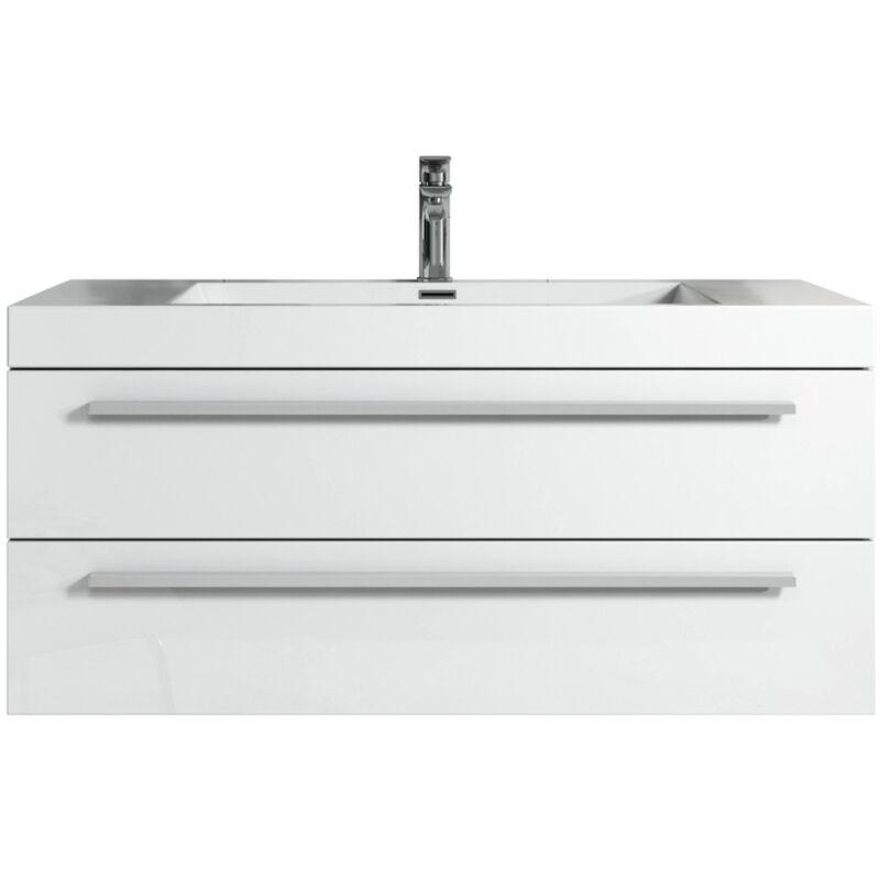 Badezimmer Badmöbel Set Rome 100cm Hochglanz weiß - Unterschrank Schrank Waschbecken Waschtisch - BADPLAATS