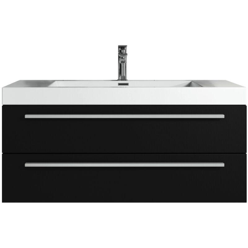 Badezimmer Badmöbel Set Rome 100cm schwarzes Holz - Unterschrank Schrank Waschbecken Waschtisch - BADPLAATS