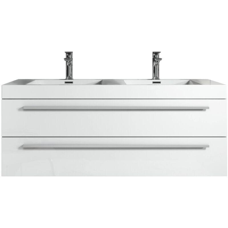 Badezimmer Badmöbel Set Rome 120cm Hochglanz Weiß - Unterschrank Schrank Waschbecken Waschtisch - BADPLAATS
