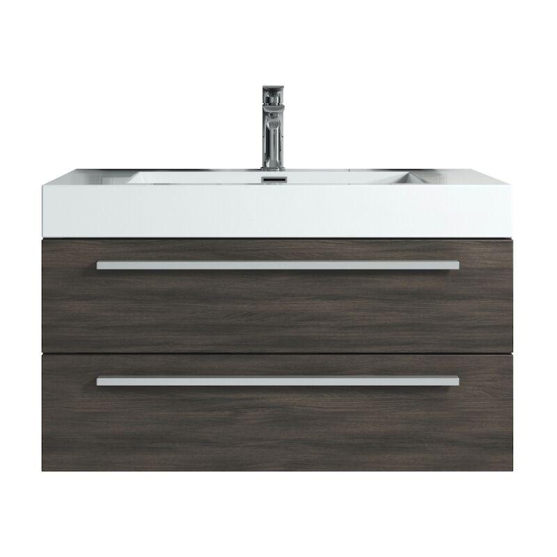 Badplaats - Badezimmer Badmöbel Set Rome 80cm eiche dunkel - Unterschrank Schrank Waschbecken Waschtisch