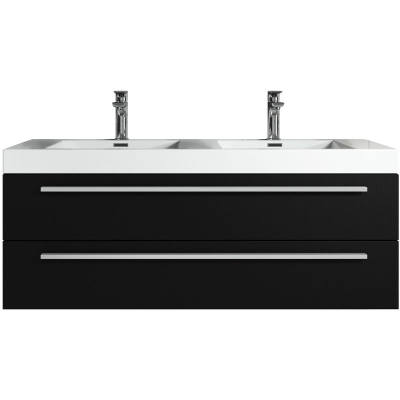 Badezimmer Badmöbel Set Rome 120cm schwarzes Holz - Unterschrank Schrank Waschbecken Waschtisch - BADPLAATS