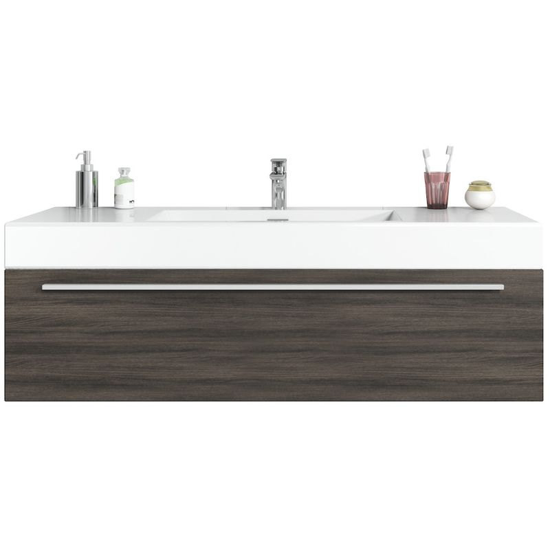 Badezimmer Badmöbel Set Garcia 120cm Eiche dunkel - Unterschrank Schrank Waschbecken Waschtisch - BADPLAATS