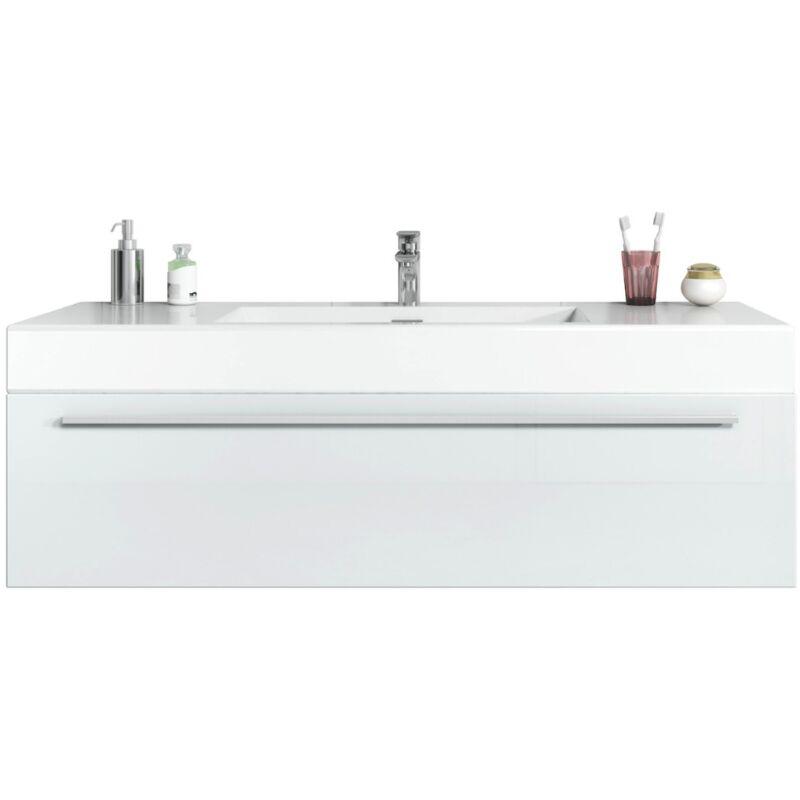 Badezimmer Badmöbel Set Garcia 120cm Hochglanz weiß - Unterschrank Schrank Waschbecken Waschtisch - BADPLAATS
