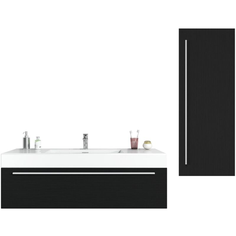 Badezimmer Badmöbel Set Garcia 120cm Schwarzes Holz - Unterschrank Hochschrank Waschbecken Waschtisch - BADPLAATS