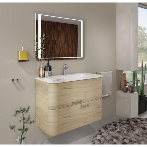 Badezimmer Badmöbel 100 cm Apollo aus Eiche Gold Holz mit ...