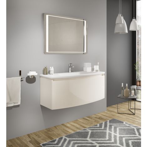 badezimmer badm bel 100 cm venere aus gl nzend creme holz. Black Bedroom Furniture Sets. Home Design Ideas