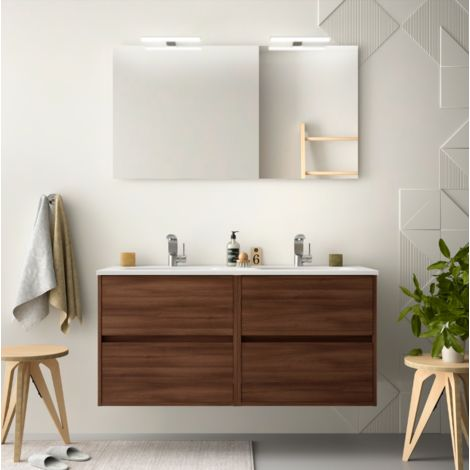 Badezimmer Badmöbel 120 cm aus Akazienbrauner Holz mit ...