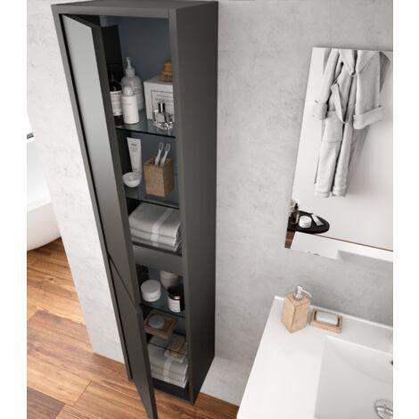 Badezimmer Badmöbel 60 cm aus mattgrauem Holz mit zwei Türen ...